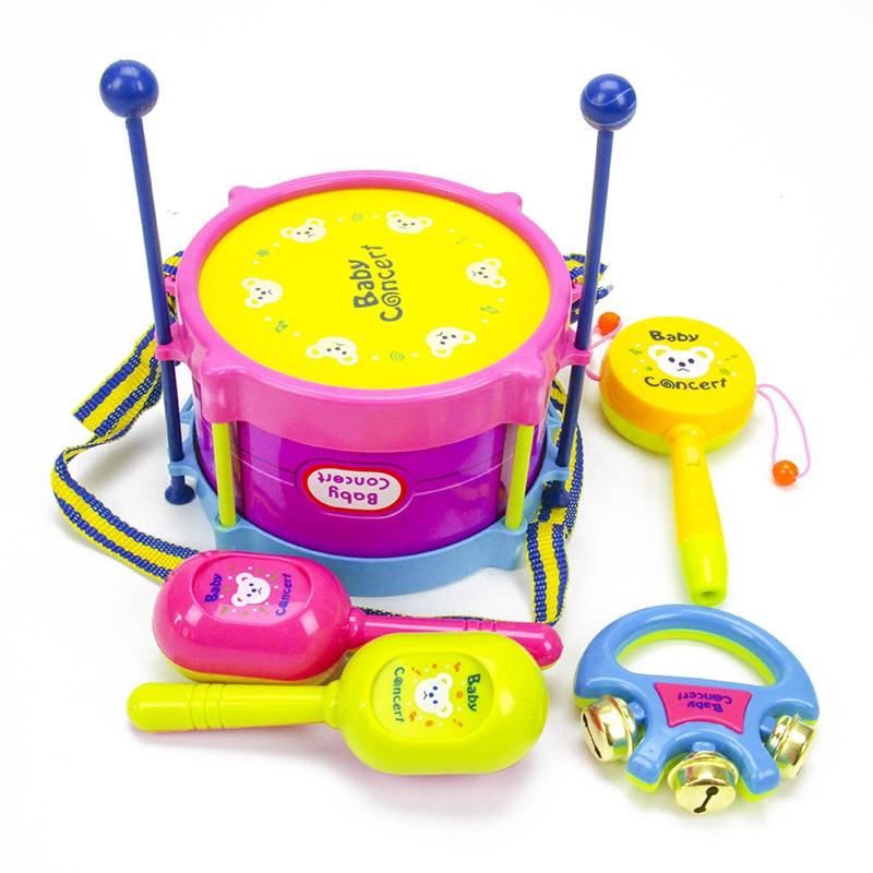 5pcs//Set Baby Kids Toddler Developmental Educational Toy Infant Drum Rattles Toy