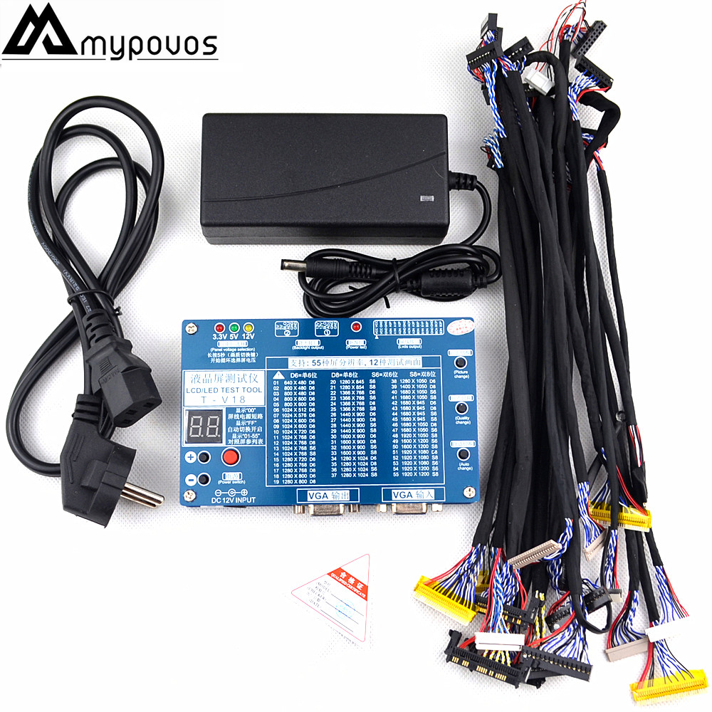 Laptop TV/LCD/LED Test Tool Panel Tester Support 7 -84 Inch LVDS 14 pcs Screen Line Supports 55 screens T-V18 12v ccfl lcd tv tube tester support 3 55 tube for laptop screen repairing d18