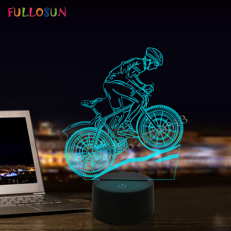Fullosun USB LED 3D Lamp MTB Mountain Bike 3D Night Lights 7 Colors Moon Lamp as Home Decoration LED Lights led chelsea football club 3d lamp usb 7 color cool glowing base home decoration table lamp children bedroom night lights