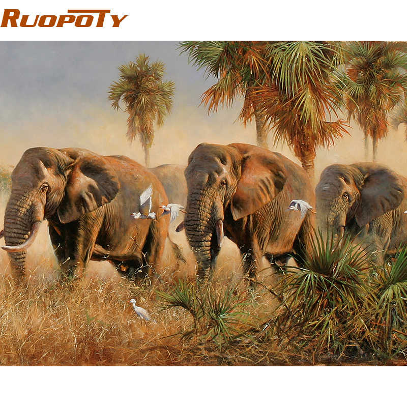 RUOPOTY diy frame Elephants DIY Painting By Numbers Animals Modern Wall Art Picture Hand Painted Oil Painting With Box For Home
