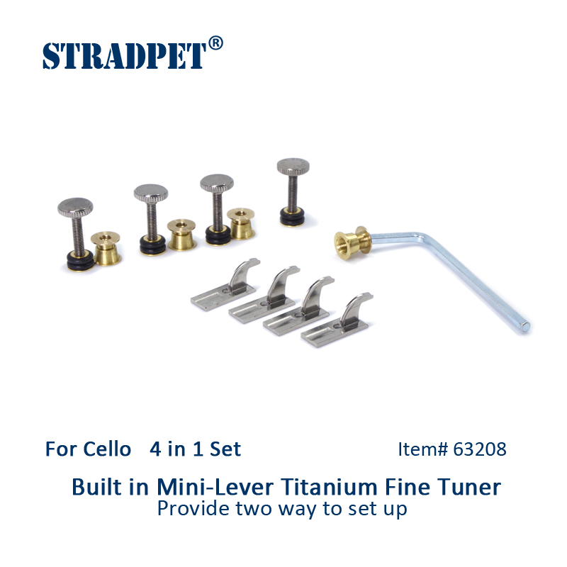 STRADPET Cello Built in Mini Lever Titanium Fine Tuners Set 4 in 1 Cello accessories