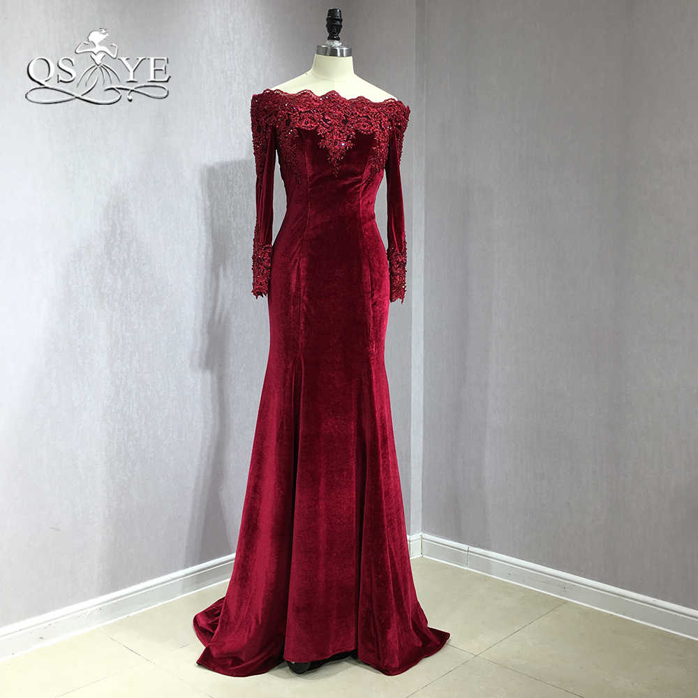 5f877b565d ... QSYYE 2018 Burgundy Velvet Long Mermaid Prom Dresses Off Shoulder Long  Sleeve Lace Beaded Detachable Train ...