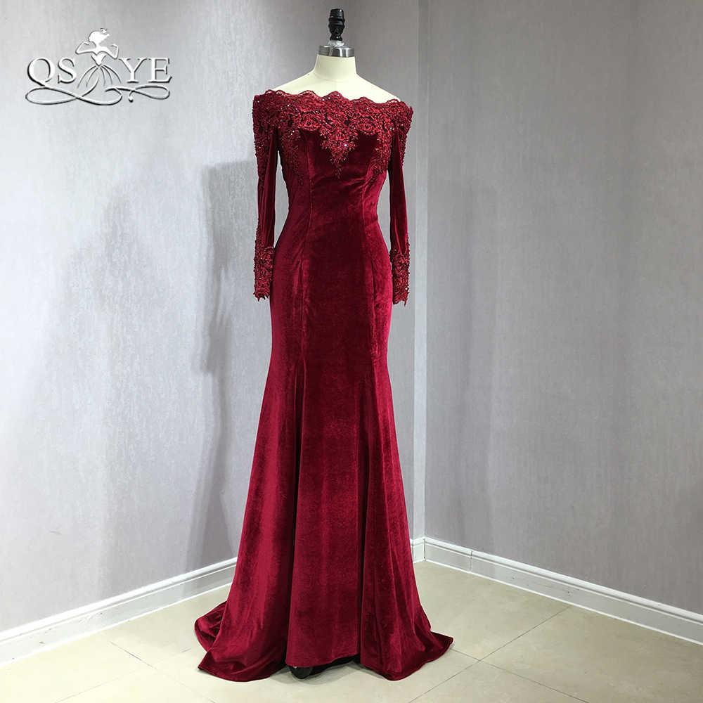b8f5565619b0 ... QSYYE 2018 Burgundy Velvet Long Mermaid Prom Dresses Off Shoulder Long  Sleeve Lace Beaded Detachable Train ...