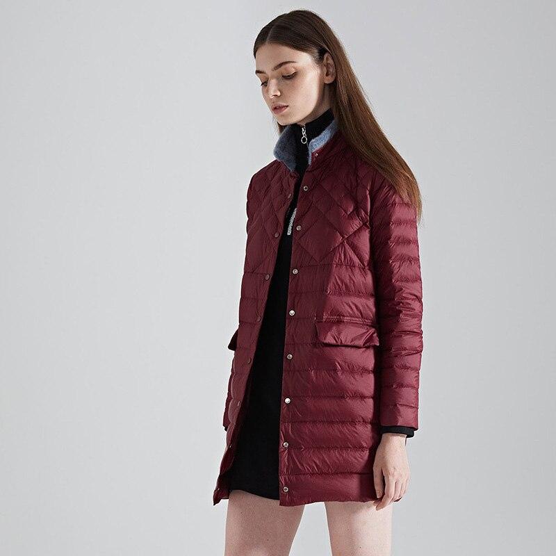 Plus Chaud D'hiver Canard 2018 Manteau Pink red Support grey La Long Femmes armygreen Dames Femelle jujube Taille De sauce Red Black Avec orange Hiver Col Veste Duvet zwCnq7