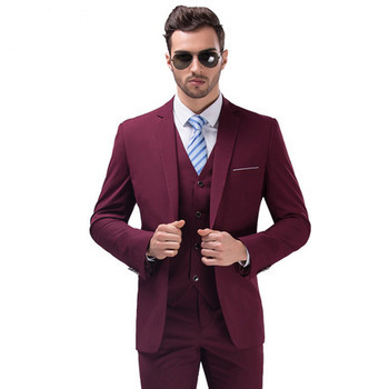 Custom made Ball gown Fashion Groom Wedding Wine Red Formal Slim Suits ( jacket+Pants+vest+tie)