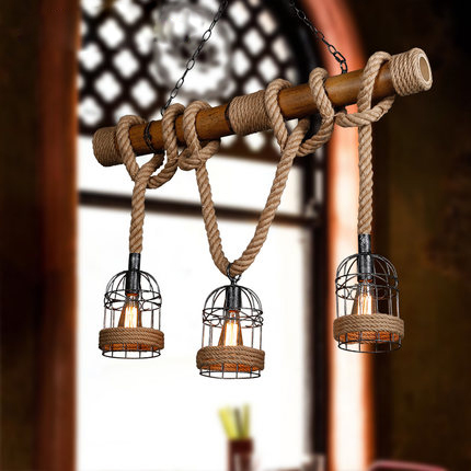 American Country Rope Cage Droplights Vintage Bamboo Pendant Lights Fixture Retro Home Indoor Lighting Cafes Pub Lamps L100cm nordic vintage hemp rope droplight american country retro candle pendant lights fixture dining room restaurant cafes pub lamps