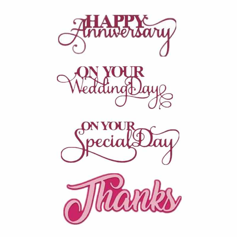 Happy Anniversary On You Wedding Day Thanks New 2019 Metal Cutting Dies for DIY Scrapbooking Crafts Paper Paper Card Making Dies