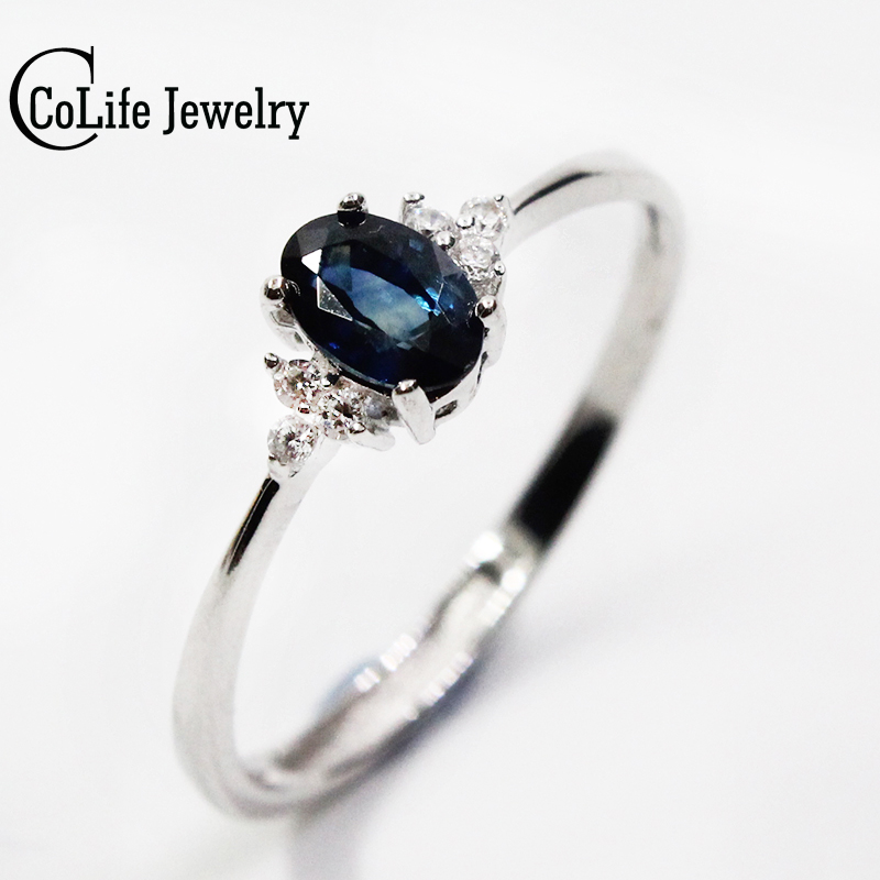 Romantic Sapphire Wedding Ring For Woman 4mm*6mm 0.5ct