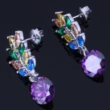 Enchanting Plant Multigem Multicolor Brown Cubic Zirconia 925 Sterling Silver Drop Dangle Earrings For Women V0705
