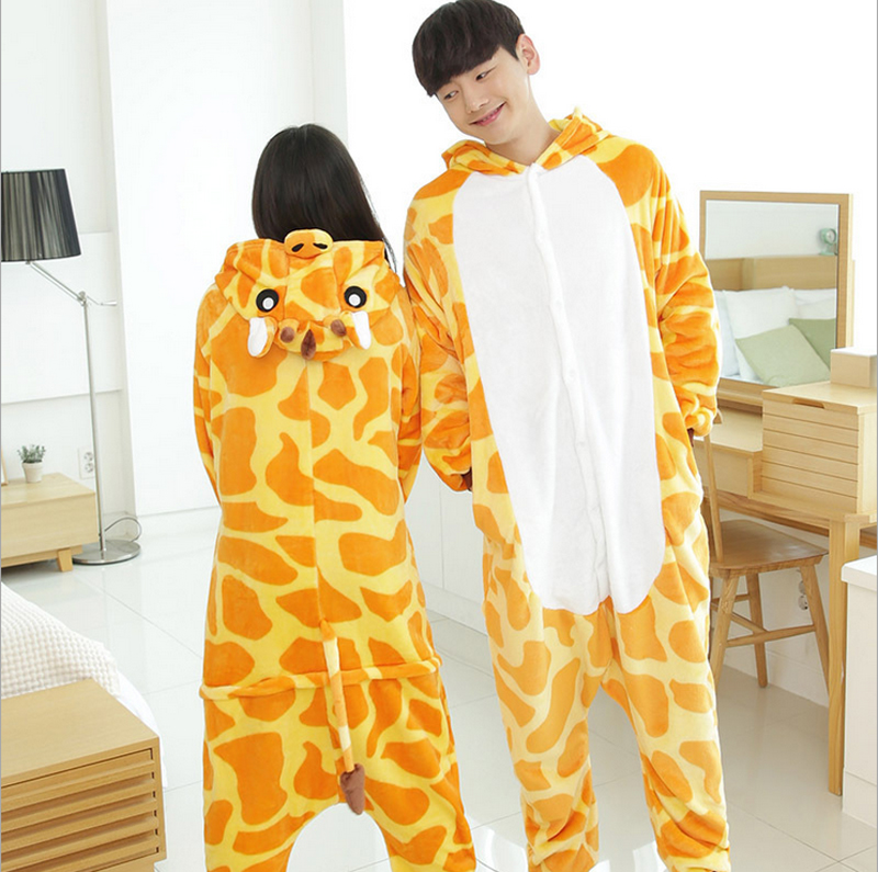 Giraffe Pajamas Animal pajamas Cosplay Costume onesies for Adult flannel cartoon animal sleepwears design for toilet