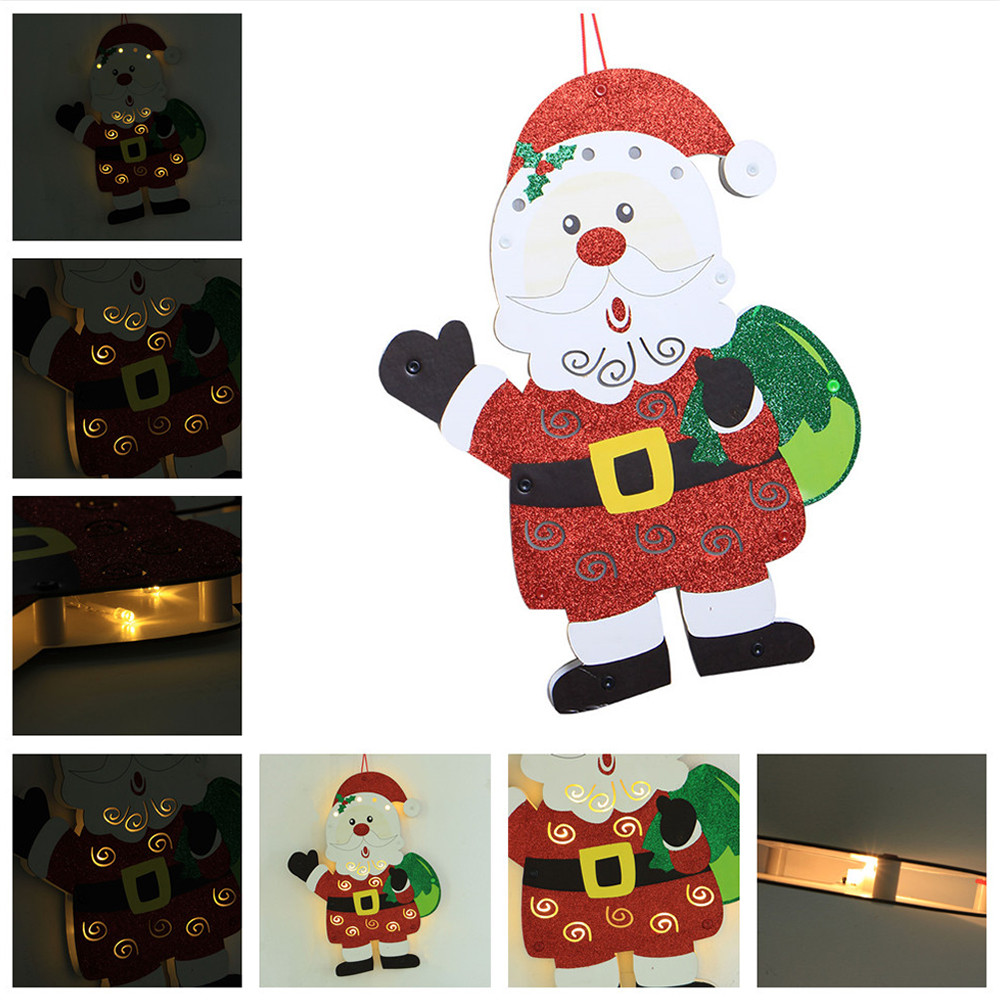 Led Kerstverlichting Outdoor Kerstboom Opknoping Ornamenten Led Houten Kerstman Huis Hotel Bar Decor Kerst Decoratie