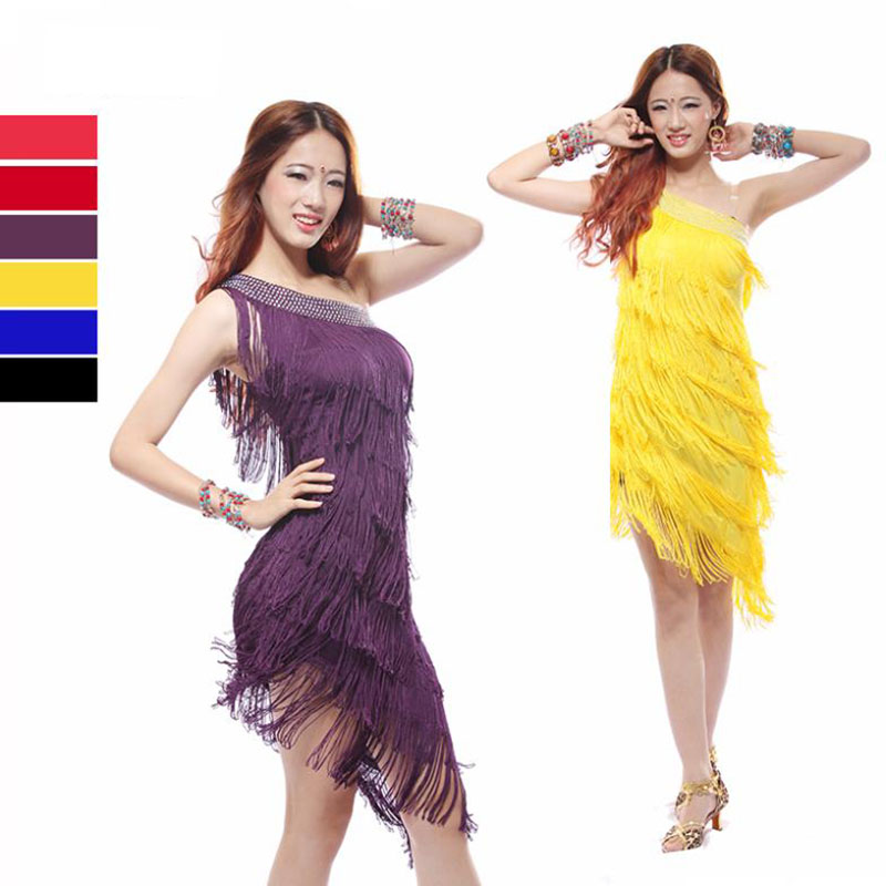 2016 New Arrivals Sexy Latin Dance Skirt Clothes Cheap Tassel Dance Dress For Women On Sale