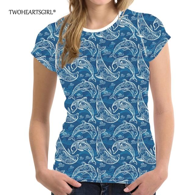 7012a5541d US $16.99 15% OFF Twoheartsgirl Ocean Dolphin Print Summer T Shirt for  Women Stylish Ladies Tops Short Sleeve Designer Women O neck Tshirts XXL-in  ...