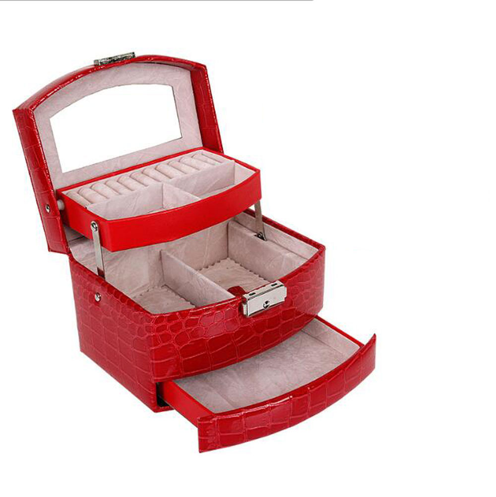 Brand Crocodile PU Leather Jewelry Cases European Ladies Portable Drawing Box Earings Jewel Case Three Layers Storage Case New