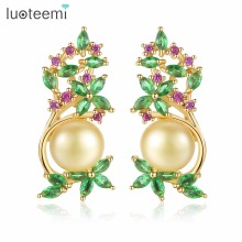 LUOTEEMI Stud Earrings AAA+ Cubic Zirconia Copper Fashion Natural Pearl Jewelry White Champagne Gold-Color for Women Party Gifts