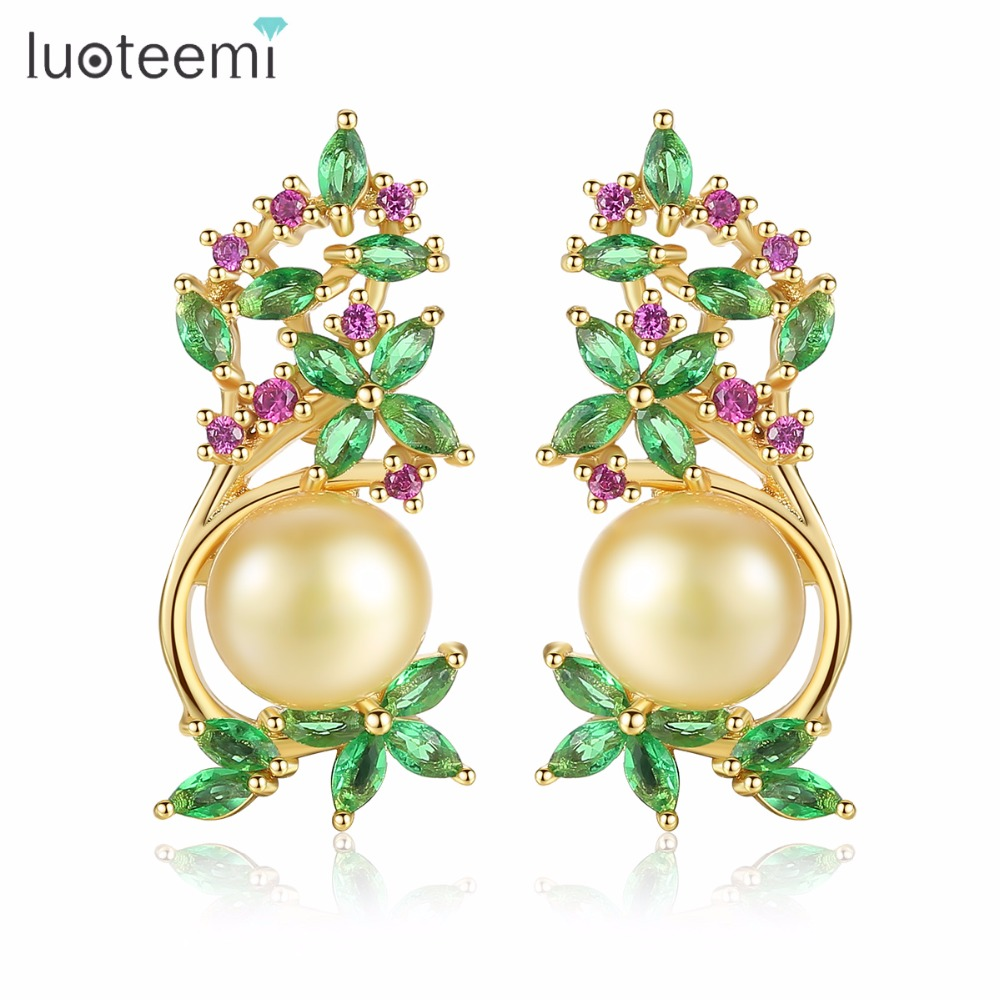 LUOTEEMI Stud Earrings AAA+ Cubic Zirconia Copper Crystal Imitation Pearl Jewelry White Champagne Gold-Color for Women Party