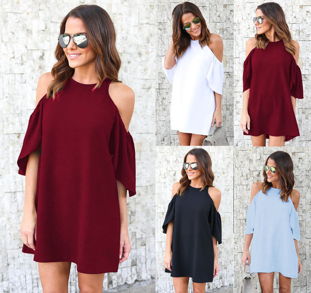 ff427eec8cff Women Casual off Shoulder Chiffon Loose dress Solid White Black Blue Wine  Red summer mini dress Clothes