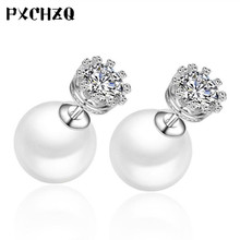 Ultra - flash crystal pearl Korean fashion simple Silver color earrings women 's fashion Elegant ear jewelry wholesale(China)
