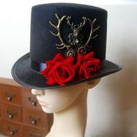Steampunk Gear Deer Head Top Hat Retro Gothic Lolita Fedoras Hats With Rose Flower Punk Hats