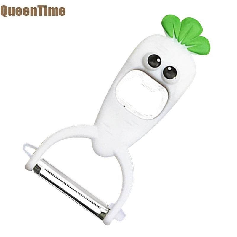QueenTime 2 In 1 Fruits And Vegetable Peeler Bottle Opener Potatoes Slicer Carrot Shape Paring Knife Beer Opener Kitchen Gadgets