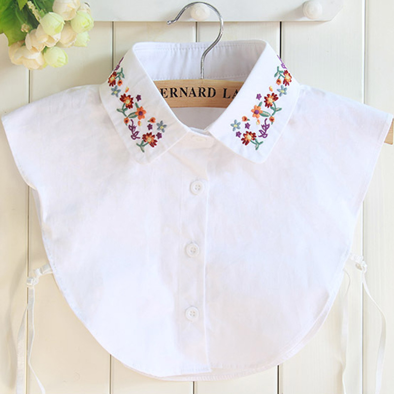 Newly cotton embroidery fake collar shirt female fake collar sweater high-quality Vest Blouse Shirt detachable turn down collar