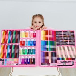 Image 4 - 168/288pcs 아트 세트 그림 수채화 그리기 도구 아트 마커 브러쉬 펜 용품 어린이 선물 상자 Office 편지지