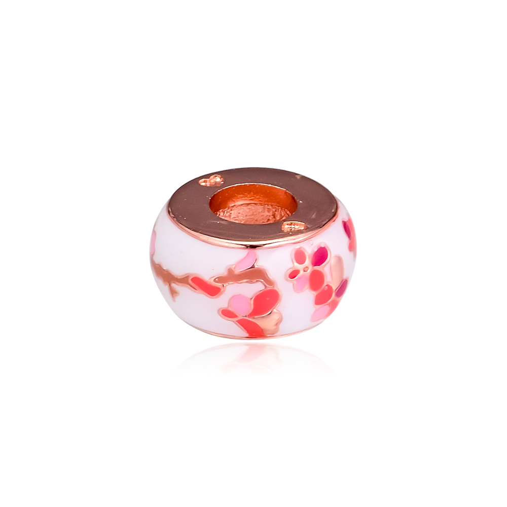 2019 Original 925 Sterling Silver Rose peach spacer flower Bead charms for jewelry making Fit beads Bracelets DIY Women in Beads from Jewelry Accessories