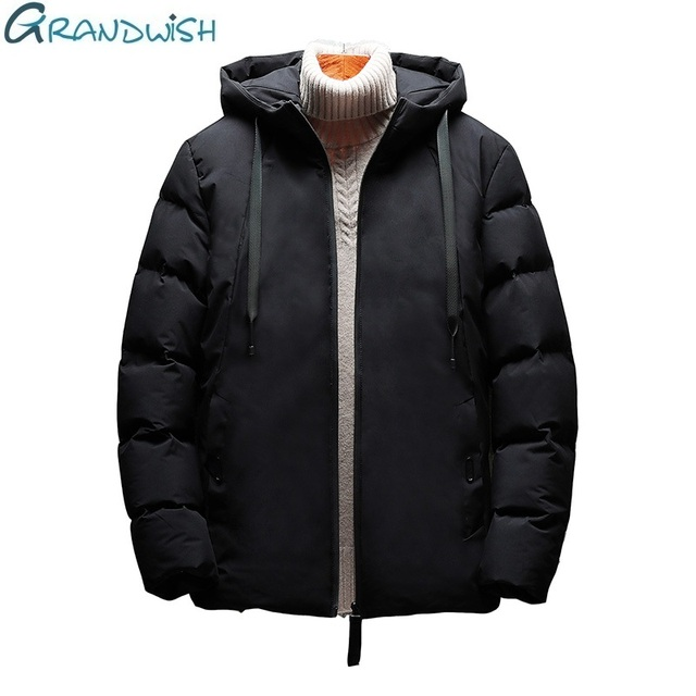 Best Price Grandwish Men Coat and Jacket Thick  Plus Size 7XL Winter Parka for Men Solid Color Hooded Winter Cotton Jacket Mens ,ZA081