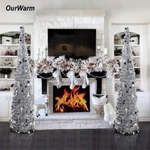 OurWarm 1,5 м Складная искусственная Рождественская елка мишура с блестками всплывающая елка с подставкой подарок на год Рождественское украшение