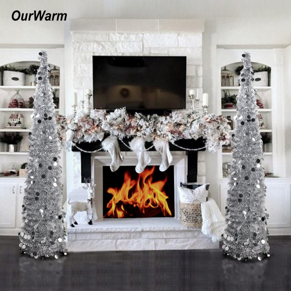 Collapsible Artificial Christmas Trees: OurWarm 1.5M Collapsible Artificial Christmas Tree Tinsel