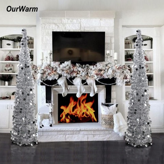 OurWarm 1.5M Collapsible Artificial Christmas Tree Tinsel Sequins Pop up  Tree with Stand New Year - OurWarm 1.5M Collapsible Artificial Christmas Tree Tinsel Sequins