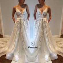 kissbridal Sexy Backless Dreses V-neck Beach Wedding Dress