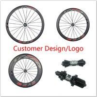 Tienda de Jerry Full Carbon Rueda de Bicicleta de Carretera 38mm/50mm/88mm 23mm Ancho R13, R36 Hub Tirón Recto Camino Aero Radios Clincher/Tubular