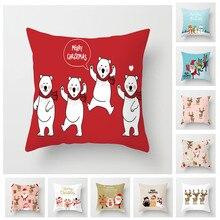 Fuwatacchi 45x45cm Christmas Cushion Cover Throw Pillows Case Bear Deer Tree New Year Decorative for Sofa Funda Cojin