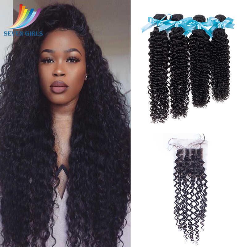 Sevengirls paquetes de rizado profundo peruano con cierre 10-10 a 28 pulgadas cabello virgen 4 paquetes con cierre gratis/ medio/tres partes