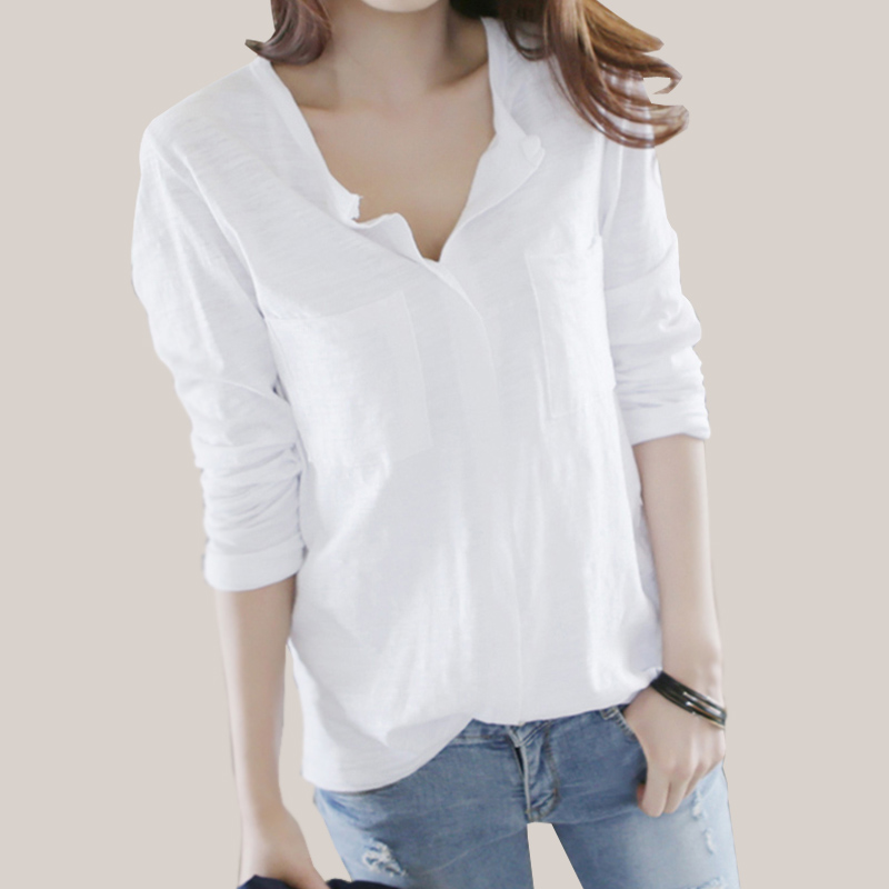 Women T Shirt 2018 Autumn Femme Tshirt Fashion Sexy V Neck Cotton Solid Tops Casual Female Long Sleeve T-shirts Camisetas Mujer
