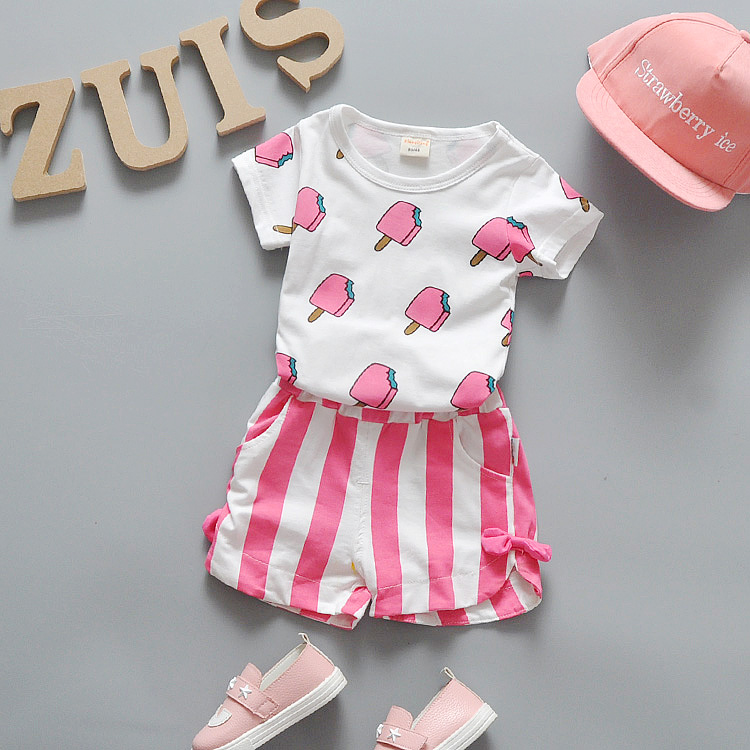 Summer Baby Girls Clothes Set 100% Cotton Ice Cream T-shirts + Shorts 2pcs Infant Girls Sports Suit Toddler Girls Clothing Set