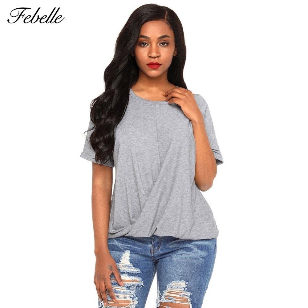 Febelle Women Casual  braces v-neck short sleeved T-shirt with bare shoulders Solid Plus Size Off Shoulder Big Size Tops#268542