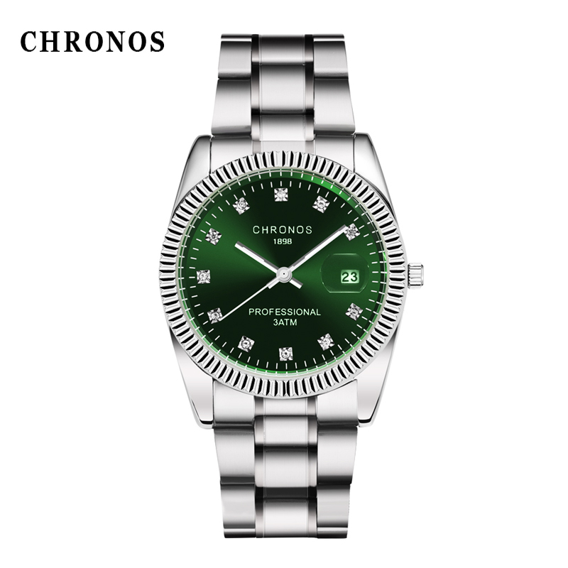 Men Silver Stainless Steel Watchband Business Quartz Watches CHRONOS Brand Luxury Man Watch Casual Male Clock Relogio Masculino nakzen brand luxury men watches stainless steel clock sport quartz edifice watch male casual business watch relogio masculino