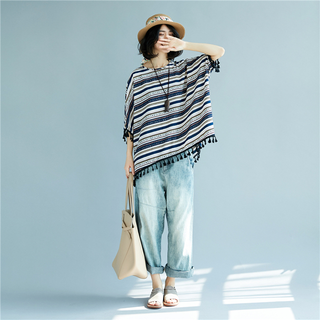 Batwing Sleeve Tassel Cotton & Linen Striped T-Shirts Summer Plus Size Casual Loose Tops Womens Lagenlook Baggy T-Shirt Tee 1