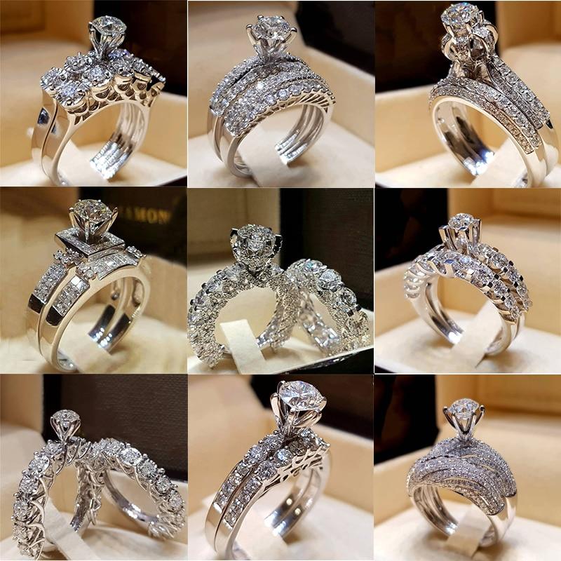 Luxury Women Ladies Crown Wedding Rhinestone Engagement Bridal Ring Gifts HZ