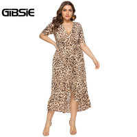 GIBSIE Sexy Office Lady V Neck Ruffle Leopard Print Women Dresses Summer Casual Plus Size Short Sleeve Wrap Long Dress 6XL 5XL