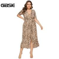 GIBSIE Sexy Office Lady V Neck Ruffle Leopard Print Women Dresses Summer Casual Plus Size Short Sleeve Wrap Long Dress 6XL 5XL