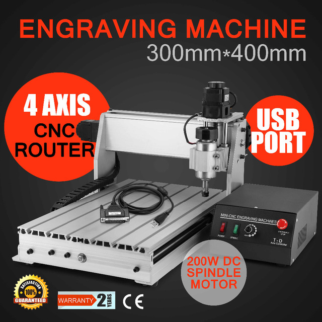 4 AXIS 3040T 300X400MM USB CNC ROUTER ENGRAVER ENGRAVING CUTTER