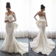 ELNORBRIDAL Long Sleeve Wedding Dresses Detachable Train