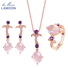 LAMOON Flower 100 Natural Gemstone Oval Rose Quartz 925 Sterling Silver Jewelry Jewelry Set V025 1