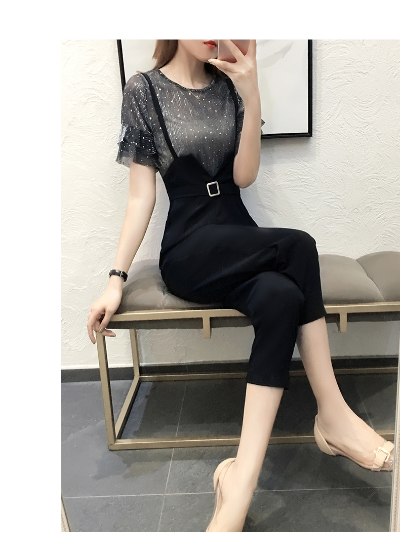 Casual women 2 pieces pant sets 2018 summer new fashion ruffles sleeved and black pencil pants lady clothing sets 7