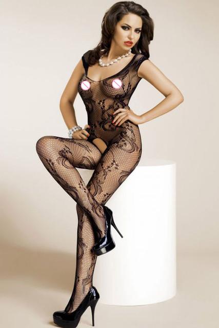 DL79714 Moda de Nueva Sexy Mujeres del Otoño Medias Sexy Negro Floral Mesh Crotchless Bodystocking lencería erótica transparente body