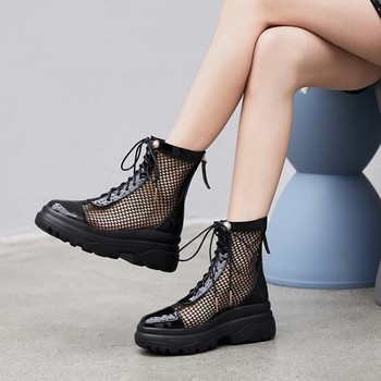 Rome sandals female Hollow ankle boots woman mesh shoes summer 2019 new platform high heels Breathable shoes Size 33-42