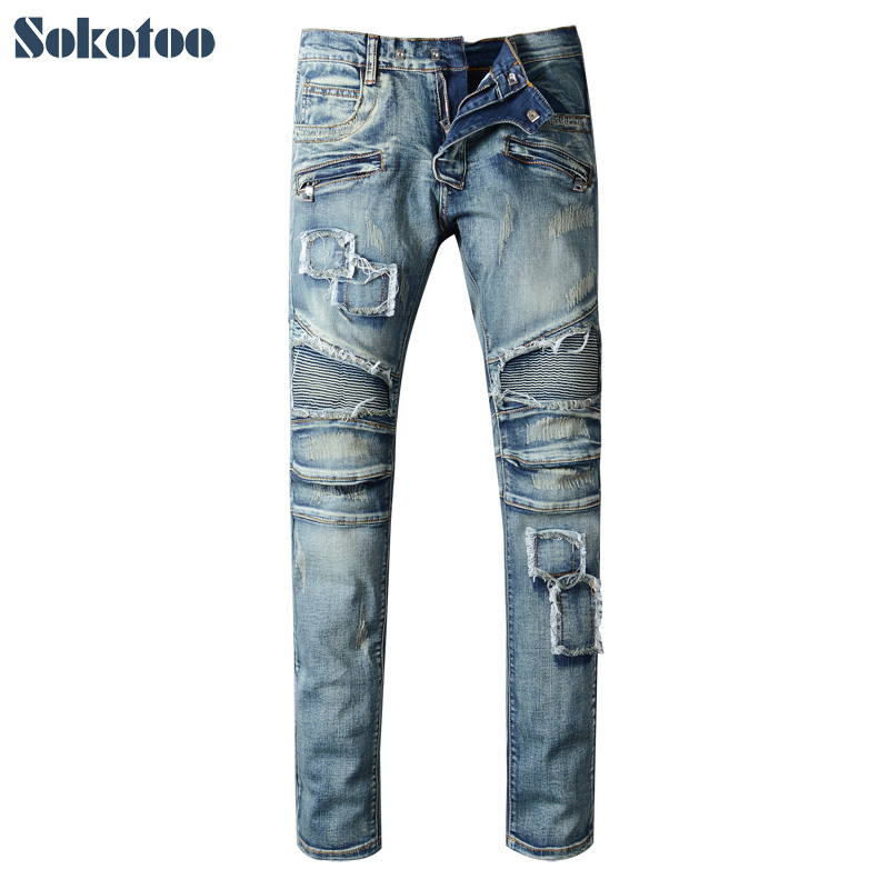 Sokotoo Men's slim patch hole ripped biker jeans for moto Casual pleated blue stretch denim pants Long trousers 2017 new men s fashion vintage zipper patch hole ripped biker jeans slim straight stretch denim pants long trousers